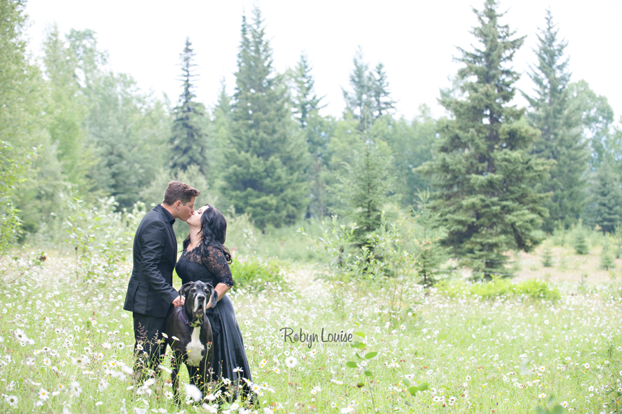 Holly and Scott - Quesnel Engagement Photography with her warmblood horse, Markas and Great Dane, Emma.