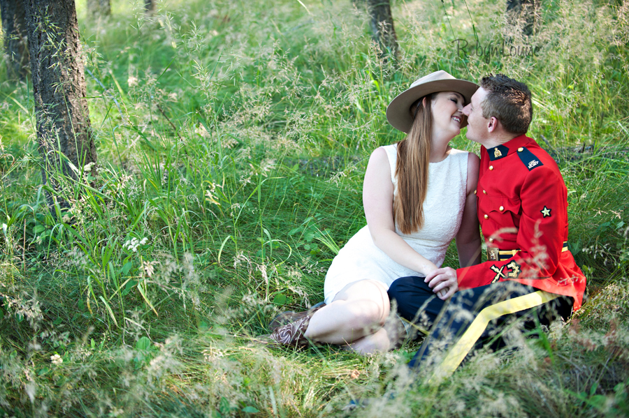 Brandy and Kevan - Quesnel Engagement Photography in RCMP Red Serge.